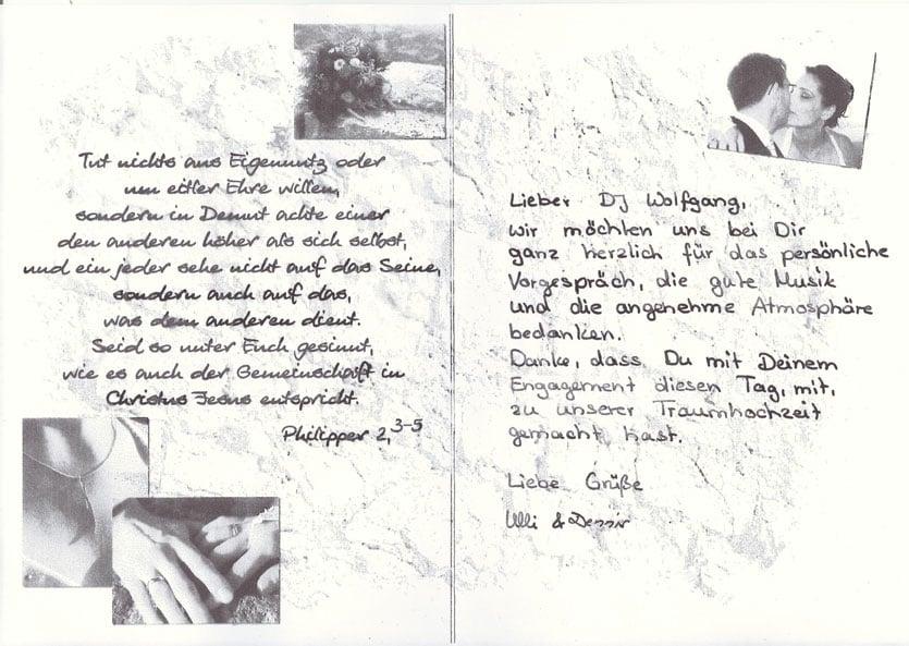 Danke Briefe die wir erhalten haben